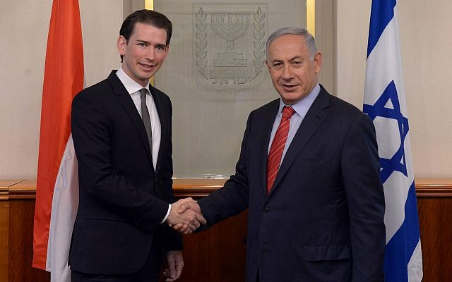 Prime Minister Benjamin Netanyahu, right, meets with Austria's then-foreign minister Sebastian Kurz in Jerusalem, on May 16, 2016. (Kobi Gideon/GPO)