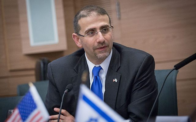 Former US ambassador to Israel Dan Shapiro attends at a fare-well session at the Knesset ahead of his departure from the role on January 17, 2017. (Miriam Alster/Flash90)