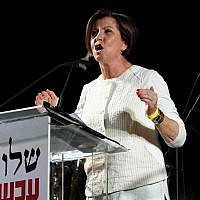 Zehava Galon leader of Meretz Party speaks to thousands of left wing activists during a rally in Rabin Square, Tel-Aviv on May 27, 2017. (Gili Yaari/Flash90)