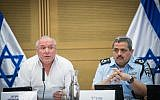Likud MK David Amsalem, chairman of the Interior Affairs Committee, left, and Police Commissioner Roni Alsheich, are seen during a committee meeting at the Knesset, July 11, 2017. (Yonatan Sindel/Flash90)