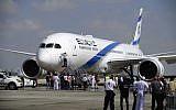 One of El Al's new Boeing 787 Dreamliner aircraft arrives at Ben Gurion International Airport, near Tel Aviv, August 23, 2017. (Tomer Neuberg/Flash90)