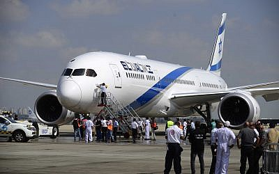 File: One of El Al's new Boeing 787 Dreamliner aircraft arrives at Ben Gurion International Airport, near Tel Aviv, August 23, 2017. (Tomer Neuberg/Flash90)