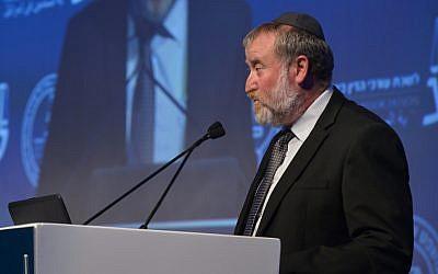Attorney General Avichai Mandelblit speaks at the Justice Conference of the Israeli Bar Association, in Tel Aviv, August 29, 2017. (Roy Alima/Flash90)