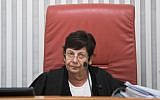 Chief Justice of the Supreme Court Judge Miriam Naor at the Supreme Court in Jerusalem, August 31, 2017. (Yonatan Sindel/Flash90)
