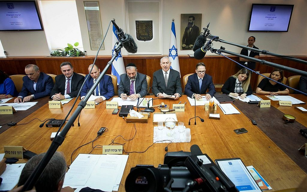 Prime Minister Benjamin Netanyahu heads the weekly cabinet meeting at the Prime Minister's Office in Jerusalem on September 3, 2017. (Marc Israel Sellem/Pool)