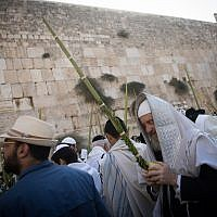Jewish worshipers hold the four plant species as they attend the annual priestly blessing during the Sukkot holiday at the Western Wall in the Old City of Jerusalem on October 8, 2017. (Yonatan Sindel/Flash90)