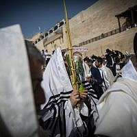 A Jewish worshiper holds the four plant species as he attends the annual priestly blessing during the Sukkot holiday at the Western Wall in the Old City of Jerusalem on October 8, 2017. (Yonatan Sindel/Flash90)