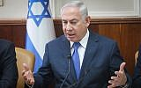 Prime Minister Benjamin Netanyahu attends the weekly government conference at the PM's office in Jerusalem on October 15, 2017. (Alex Kolomoisky/POOL)