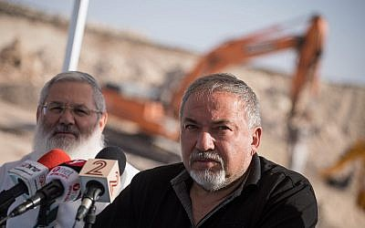 Defense Minister Avigdor Liberman visits the construction site of the new West Bank settlement of Amichai on October 18, 2017. (Hadas Parush/Flash90)