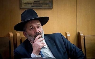 Interior Minister Aryeh Deri attends a memorial ceremony in Jerusalem for Rabbi Ovadia Yosef on October 22, 2017. (Yonatan Sindel/Flash90)