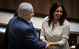 Sport and Culture Minister Miri Regev, right, with Prime Minister Benjamin Netanyahu during the special plenary session opening the winter session of the Knesset, in Jerusalem, October 23, 2017. (Hadas Parush/Flash90)