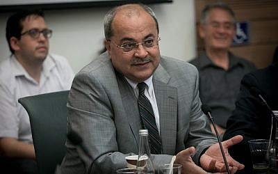 Joint List MK Ahmad Tibi attends a discussion on the 'Jewish State' bill in the Knesset, on October 23, 2017. (Miriam Alster/FLASH90)