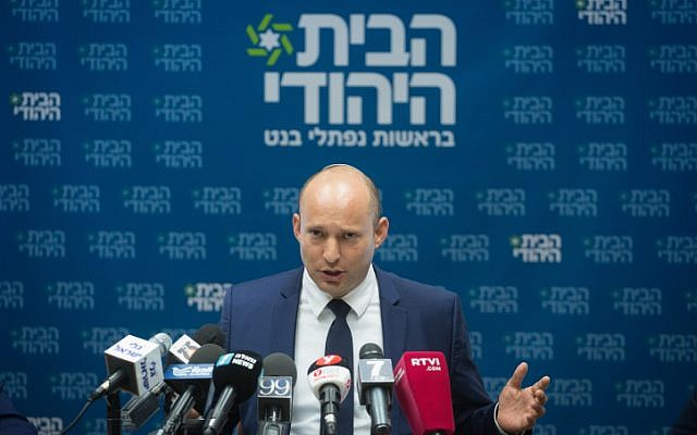 Head of the Jewish Home party and Education Minister Naftali Bennett leads a faction meeting at the Knesset on October 23, 2017. (Miriam Alster/Flash90)