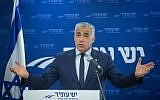 Head of the Yesh Atid party Yair Lapid leads a faction meeting at the Knesset on October 23, 2017. (Miriam Alster/Flash90)