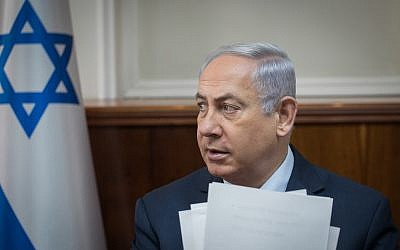 Prime Minister Benjamin Netanyahu attends the weekly cabinet meeting at the PM's office in Jerusalem on October 29, 2017. (Ohad Zwigenberg/POOL)