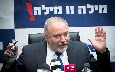 Defense Minister Avigdor Liberman leads the Yisrael Beytenu party faction meeting at the Knesset on October 30, 2017. (Yonatan Sindel/Flash90)