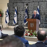 President Reuven Rivlin addressing the Christian Media Summit in Jerusalem, October 18, 2017 (Mark Neiman)