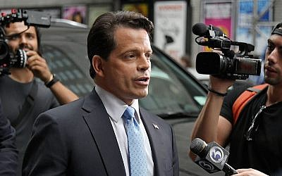 "Anthony Scaramucci departing from ""The Late Show With Stephen Colbert"" in New York City, August 14, 2017. (Mike Coppola/Getty Images via JTA)"