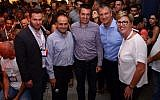 Yonatan Machado, of JVP Labs (left), Yoav Tzruya, head of JVP Labs, Paul Wilkinson, head of Technology Research at Tesco Labs, Erel Margalit, founder and chairman JVP, Fiona Darmon, Partner and COO, JVP, at the launch of JVP Play, Oct. 17, 2017 (Courtesy)