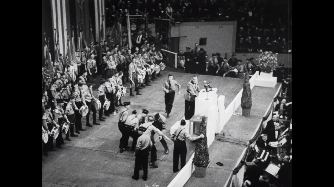 Screen capture from video showing American Nazis attacking Jewish protester Isador Greenbaum during a German American Bund rally at Madison Square Garden, February 1939. (YouTube/Field of Vision – A Night at the Garden)