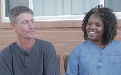 Former white supremacist Michael Kent (r) and his parole officer, Tiffany Whittier, on September 25, 2017. (Screen capture: YouTube)