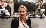 Zionist Union MK Ksenia Svetlova standing in front of a polling station in Barcelona, October 1, 2017. (Courtesy of Svetlova)