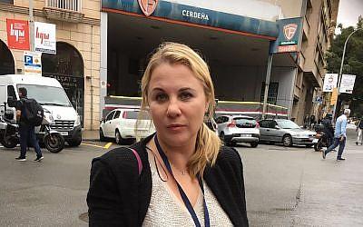 Zionist Union MK Ksenia Svetlova standing in front of a polling station in Barcelona, October 1, 2017. (Courtesy of Svetlova)