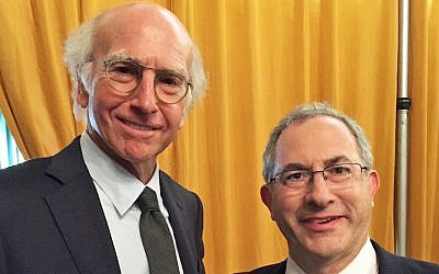 Cantor Kenny Ellis posing with 'Curb Your Enthusiasm' creator Larry David. (Courtesy of Kenny Ellis via JTA)