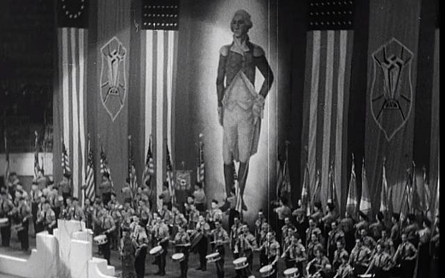 Screen capture from video of the German American Bund rally at Madison Square Garden, February 1939. (YouTube/Field of Vision - A Night at the Garden)