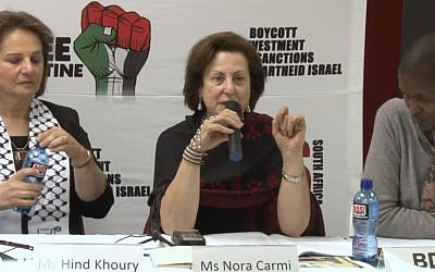Palestinian activist Nora Carmi (c) speaking at a BDS conference in South Africa,  August 20, 2015. (Screen capture: YouTube)