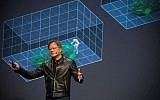 Nvidia's founder and CEO Jensen Huang speaking at the firm's GTC developers conference in Tel Aviv on Oct. 18, 2017 (Courtesy)