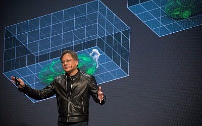 Nvidia's founder and CEO Jensen Huang speaking at the firm's GTC developers conference in Tel Aviv on October 18, 2017 (Courtesy)