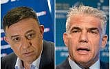 Labor leader Avi Gabbay, left, attending a news conference in Tel Aviv, July 11, 2017; Yair Lapid attending a conference in Herzliya, June 22, 2017. (Miriam Alster/Flash90; Jack Guez/AFP/Getty Images via JTA)