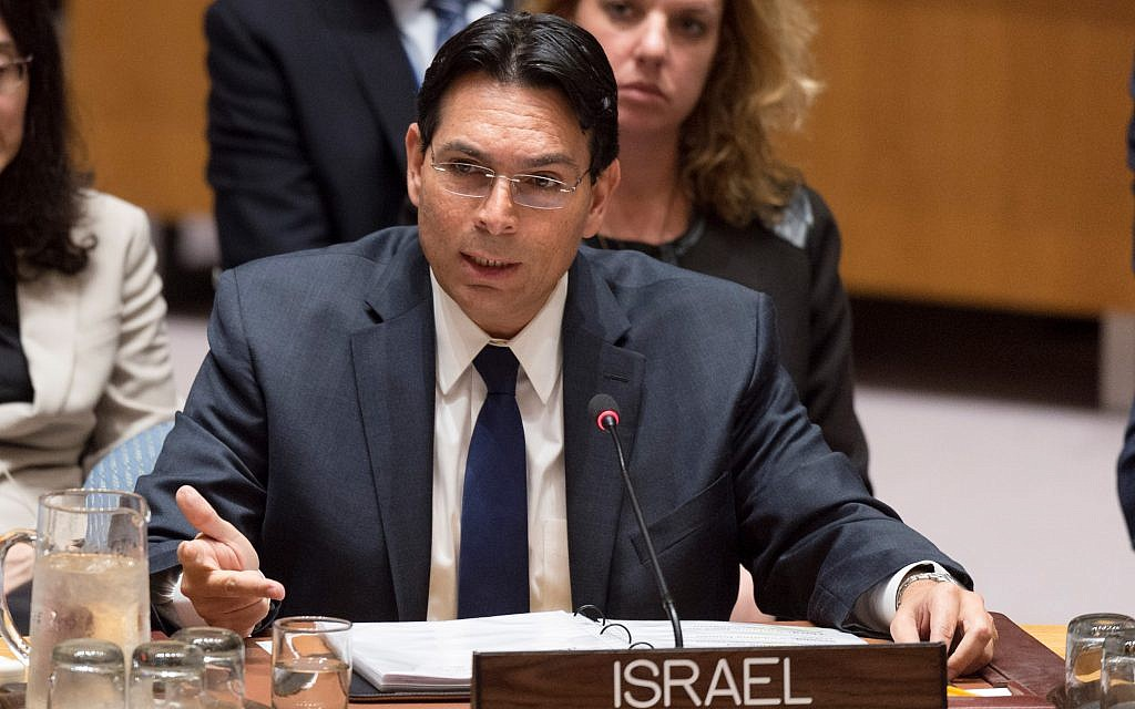 Danny Danon, Israel's representative to the United Nations, addresses the Security Council meeting on October 18, 2017. (UN Photo/Rick Bajornas)