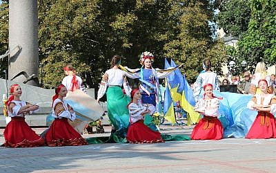 An Independence Day ceremony in the town of Rohatyn, Ukraine. (Shmuel Bar-Am)