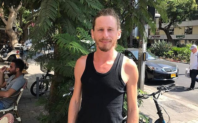 Sam Goodriche outside a cafe in Tel Aviv, Sept. 24, 2017. (Andrew Tobin)