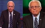 Larry David played democratic candidate Bernie Sanders in a Saturday Night Live skit of the first 2016 Democratic Presidential Debate, October 17, 2015 (Screenshot from YouTube)