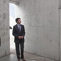 Illustrative: Canadian Prime Minister Justin Trudeau attends the inauguration of the National Holocaust Memorial in Ottawa on September 27, 2017. (Screen capture: YouTube)