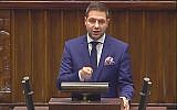 Polish Deputy Justice Minister Patryk Jaki addresses parliament on December 22, 2015. (Screen capture/YouTube)