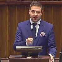 Polish Deputy Justice Minister Patryk Jaki addresses parliament on December 22, 2015. (Screen capture/YouTube)