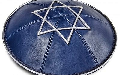 The $36,000 diamond-encrusted yarmulke being sold by the Modern Tribe website (Courtesy Modern Tribe)