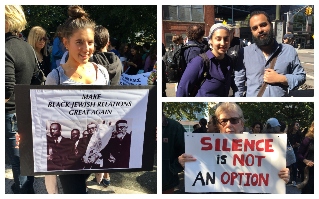 Clockwise from left: Sarah Friedson gets ready to march; Rivka Nehorai and Elad Nehorai of Torah Trumps Hate; SJ Avery with a sign carried in over a dozen protests. (Cathryn J. Prince/Times of Israel)