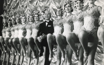Performer Eddie Vitch with cabaret dancers in the late 1950s. (Courtesy Sigal Bujman)