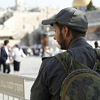 Police on duty at the Western Wall in the Old City of Jerusalem on October 8, 2017. (Israel Police)