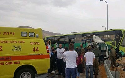 Scene of a car accident between a tow truck and Egged bus on the West Bank's Route 90 on October 9, 2017. (Courtesy: Magen David Adom)