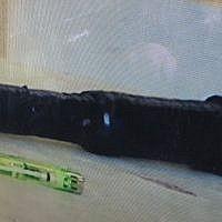 An object found on a Palestinian teenager outside a military court in the West Bank that police said appeared to be a pipe bomb, on October 15, 2017. (Police Spokesperson)