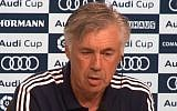 Former Bayern Munich coach Carlos Ancelotti at a press conference, August 2017. (YouTube screenshot)