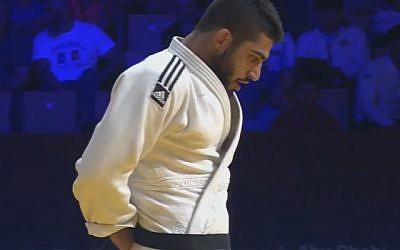 Israeli judoka Tohar Butbul competes in Abu Dhabi on October 27, 2017 (YouTube screenshot)