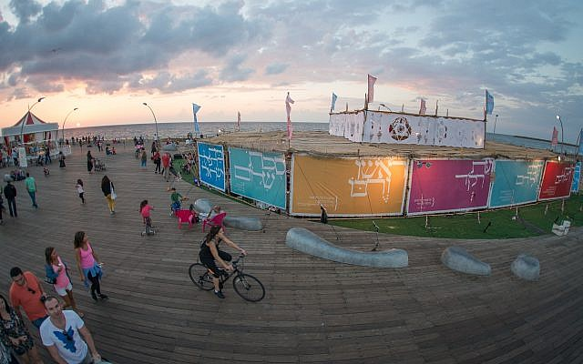 The 700 square meter Beit Tefilah Israeli Sukkah at the Tel Aviv port, pictured here in 2016, will host 25,000 people over the next week.  (courtesy Beit Tefilah Israeli)