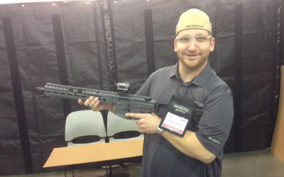 Jonathan Burstyn, a Jewish gun instructor, at an NRA convention, August 2017. (Courtesy of Burstyn via JTA)
